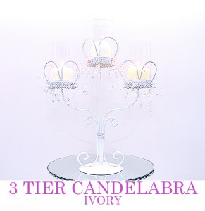 Ivory 3 tier Candelabra with pearl decor - comes with mirrorboad