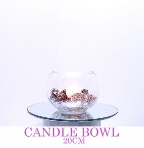 Candle Bowl 20cm with small pillar candle, any colour & style - comes with mirror board