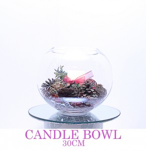 Candle Bowl with large pillar candle, any colour & style - comes with mirror board
