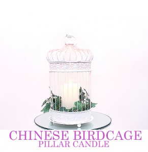 Chinese Ivory  Birdcage with pillar candle - comes with mirror plate
