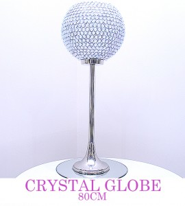 Crystal Globe 80cm - comes with pillar candle or led light & mirror board