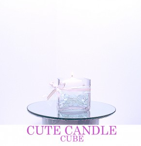 "12"" Candle Cube with pillar candle & decor to match colour theme. Comes with mirror board"