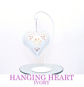 Ivory Hanging Heart with tea light - comes with mirroplate