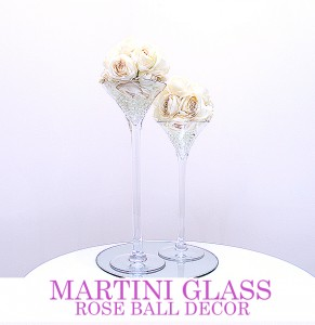 Martini Glass with Rose Ball - 40cm & 50cm. Comes with mirror board
