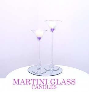 Martini Glass with Ball Candle or Floating Candles 40cm & 50cm. Comes with mirror board