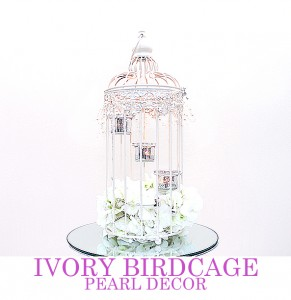 Ivory Birdcage with pearl decor