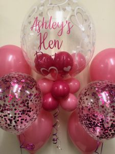 Personalised Deco Bubble with 2 x 3 confetti balloon bouquets - this is our Dine out with Decor package - only £40.00