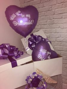 "Balloon in a Box.  Personalised Vinyl printed 18"" Heart  in tissue lined presentation box with fabulous bow decor"