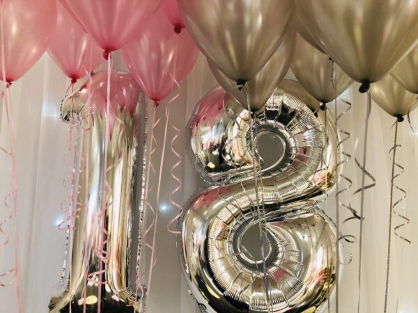 Double Number + 20 ceiling balloons